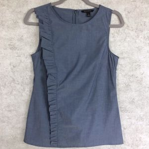 Banana Republic Ruffled Chambray Sleeveless Top